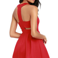 Cutout and About Red Skater Dress