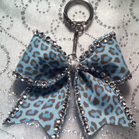 Cheer Bow Key Chain Blue leopard and Silver Bling