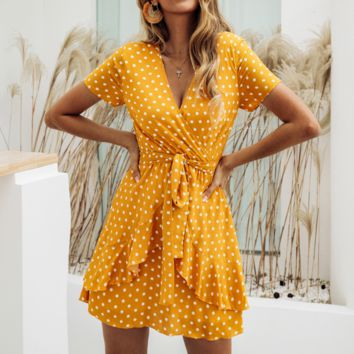 Fashion New More Wave Point Short Sleeve Dress Women Yellow