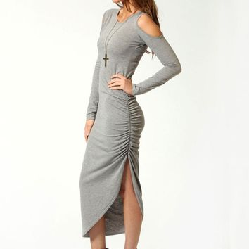 Sexy Women Maxi Dress Autumn Long Sleeve Cut Out Shoulder Ruched Side Bodycon Dress Clubwear Cotton Midi Dress Grey