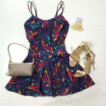 Spaghetti Strap Firework Print Mini Dress