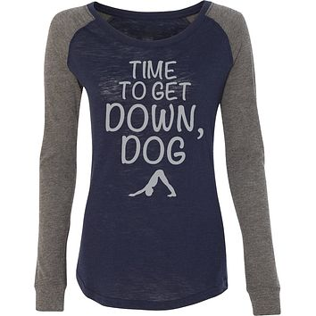 It's Time to Get Down, Dog Preppy Patch Elbow Yoga Tee