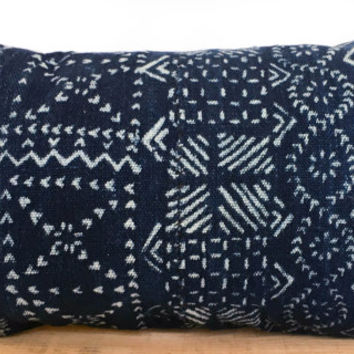 12x20 Inch Vintage Indigo African Mud Cloth Pillow Cover