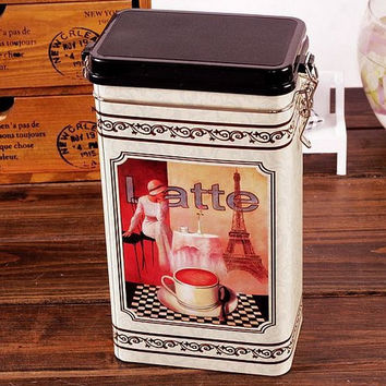 Retro Large Beige Lady Paris Eiffel Tower Coffe Cup Coffee Tea Sealed Container Jar Tin Metal Kitchen