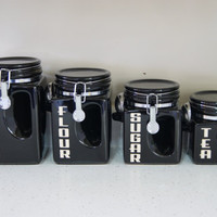 Ceramic Kitchen Canister set Black Coffee Tea Sugar Flour Jars Cans Retro