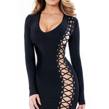 Long sleeve side lace up asymmetrical dress
