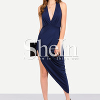 Navy Sleeveless Deep V Neck Asymmetrical Dress -SheIn(Sheinside)
