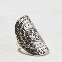 AEO Women's Floral Studded Ring (Silver)
