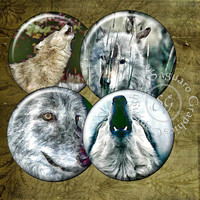 Growls from Wolves Art - Digital Collage Sheets sg600 - 1.5, 1.0 inch Circles for Jewelry Supplies, Pendants, Craft Projects