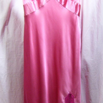 Satin Night Gown, Sexy, Bright Rosy Pink, Waltz, Old Hollywood, Couture Fit,, Express, Size 7/8, Bridal Honeymoon, Resort Cruise Wear