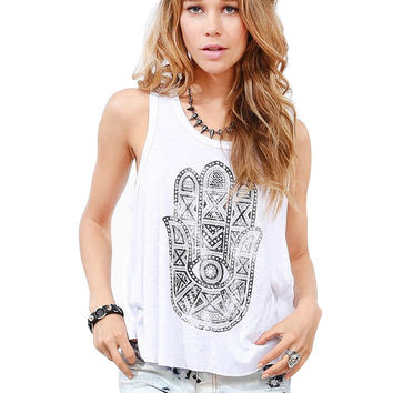 SZ6053  New 2015 Lucky  Hand of Fatima  Pattern  Loose Halter Vest  Women Sleeveless Casual Blouse Shirt Blusa