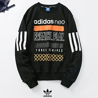 Adidas Autumn And Winter Fashion New Letter Print Women Men Long Sleeve Top Sweater  Black