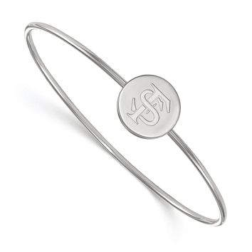 NCAA Sterling Silver Florida State University Logo Bangle, 8 Inch