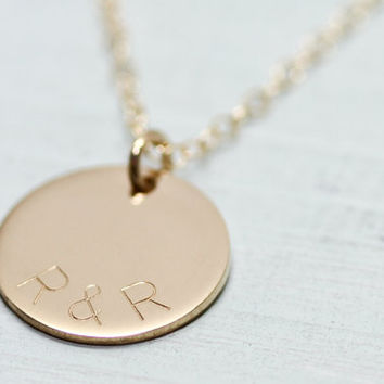 Gold disc necklace - dainty gold necklace - initial necklace - delicate gold jewelry - engraved jewelry - engraved necklace - wedding gift