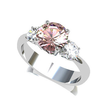 Pink tourmaline ring, white gold, white sapphire, trinity engagement ring, pink tourmaline, pink engagement, sapphire engagement, peach