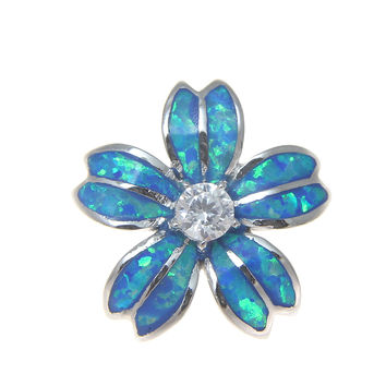 INLAY OPAL 925 STERLING SILVER RHODIUM HAWAIIAN PLUMERIA FLOWER SLIDER PENDANT