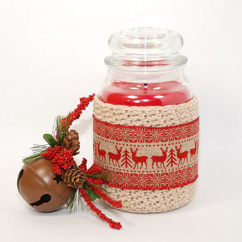 Country Christmas Decor - Rustic Christmas Decorations - Yankee Candle Jar Cover - Mason Jar Cozy - Christmas Candle Holder - Gifts under 15