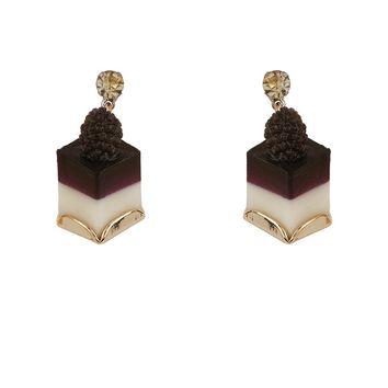 N2 by Les Néréides GOURMET COFFEE BLACKBERRY BLANCMANGE EARRINGS