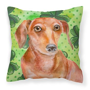 Red Dachshund St Patrick's Fabric Decorative Pillow BB9881PW1818