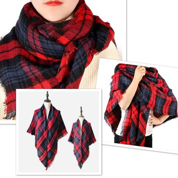 Matching Mother Daughter Red Plaid Blanket Scarfs BOGO: Buffalo Plaid