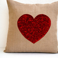 Gift Of Love Burlap Sequin Red Heart Pillow Cover For Valentine To Celebrate Togetherness