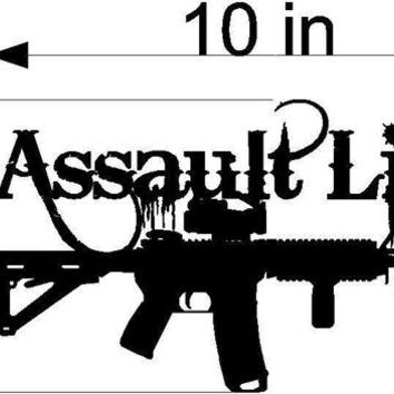 10in Assault Life M4 scope Riffle Gun Military Hunting Sticker Decal Label Wall art Window Auto Body Salt Computer