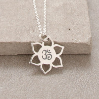 Delicate Sterling Silver Lotus Om Necklace
