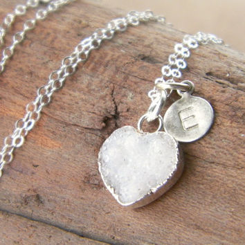 White drusy necklace, personalized necklace, heart druzy, drusy pendant