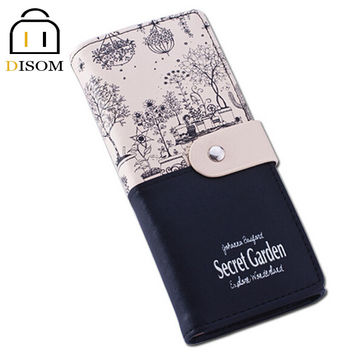 New Arrived 2016 female Long Leather Wallets Fashion 2 fold Floral Print Brand Design Casual Lady's Purse Women's Clutch