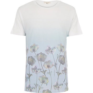 River Island MensWhite faded floral print t-shirt