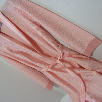 Satin Peach Robe Long Wrap Sleepwear Crinkle Pleated Fabric Design Bridal Honeymoon Resort Cruise Wear