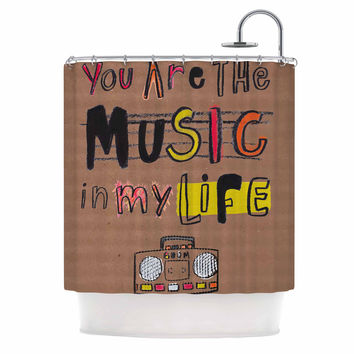 "MaJoBV ""Music In My Life"" Brown Quote Shower Curtain"