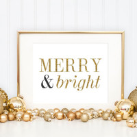Merry and Bright Christmas Print / Holiday Glitter Print / Christmas Decor / Holiday Decor / Christmas Wall Art / Up to 13x19