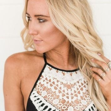 Crochet High Neck Bralette - Black