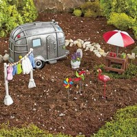 Camping Weekend Garden Set Miniature Figurines Planter Scene Yard Home Decor