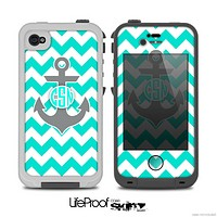 The Teal Green and Gray Monogram Anchor on Teal Chevron Skin for the iPhone 4-4s LifeProof Case