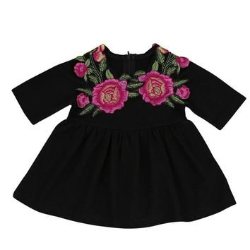 Children Dress Girls Costumes Half Sleeve Summer Rose Flower Appliques Dress Kids Clothes Robe Enfant Princess Dress