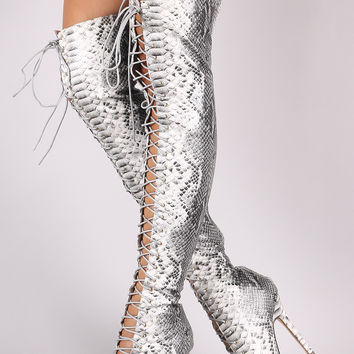 Python Lace Up Stiletto Heeled Boots | UrbanoG