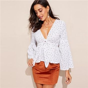 White and Black Polka Dotted Plunging V Neck Bell Sleeve Blouse