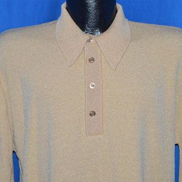 70s Arrow Knit Long Sleeved Polo Shirt Large
