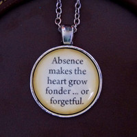 Absence Makes the Heart Grow Fonder Necklace. Peter Pan Necklace. Long Distance Relationship. 18 Inch Chain.