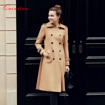 Qunitina 2017 New Fashion Trench Coat For Women Slim Long Style Double Breasted Full Sleeve Autumn Trench Coat Women