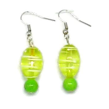 Green Striped Oval with Solid Green Round Beaded Earrings