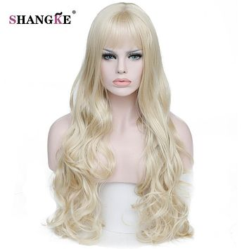 SHANGKE 26'' Long Wavy Blonde Wigs Blonde Heat Resistant Synthetic Female Wigs For Black White Women Fake Hair Pieces