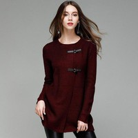 Women Fashion Warm Knitted Cardigans Autumn Casual Solid Color Loose Long Sleeve Sweater OPen Stitch