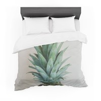 "Chelsea Victoria "" The Pineapple"" Green Gold Featherweight Duvet Cover"