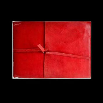 Red Scroll Genuine Leather Blank Journal with cord