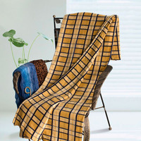 Yellow/Blue Plaids Soft Coral Fleece Throw Blanket in 59 by 71 inches