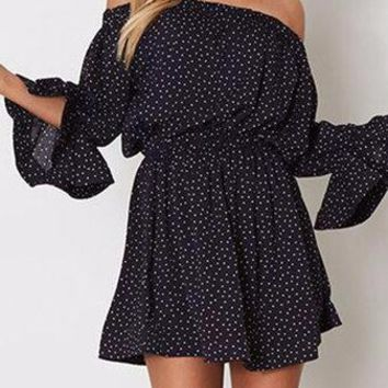 Black Polka Dot Pattern Off Shoulder Long Bell Sleeve Mini Dress