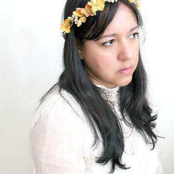 Mustard Yellow Floral Crown. flower crown, Bohemian. Bridal.  Yellow and Gold, Hair Crown. Woodland Wedding. Fall, Autumn, Bridesmaids